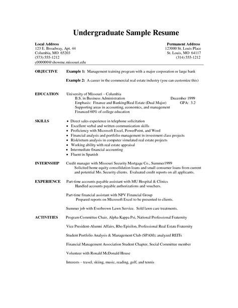 resume for students format undergraduate student resume template svoboda2 com