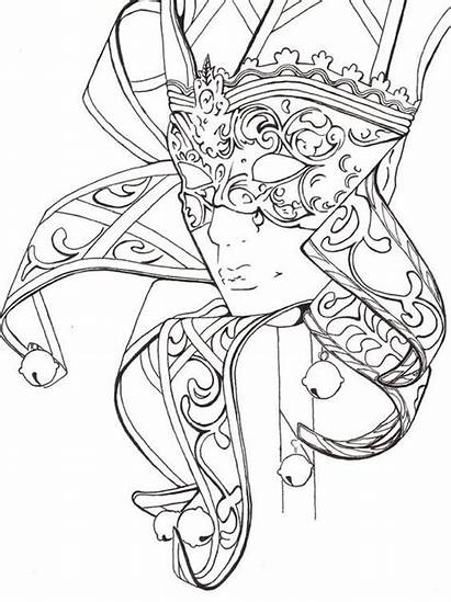 Coloring Pages Carnival Fantasy Adult Mask Adults
