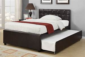 black leather full size bed frame with trundle and padded With bed frame with cushioned headboard