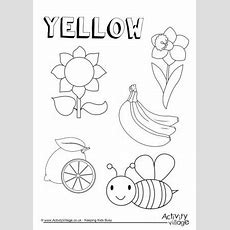 Yellow Things Colouring Page  Crafts  Teaching Toddlers Colors, Color Worksheets For Preschool