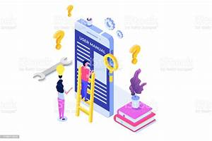 User Manual Isometric Concept People With Guide