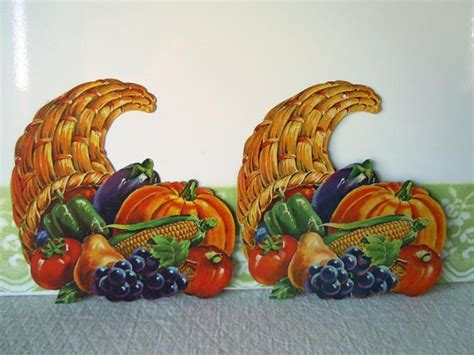 vintage thanksgiving decorations reserved vintage 1960 dennison decorations thanksgiving cornucopia pu