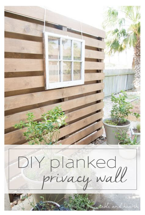 simple planked diy privacy wall table  hearth