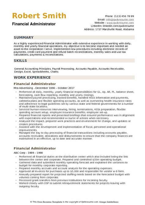 Federal Resume Sles by Financial Administrator Resume Sles Qwikresume