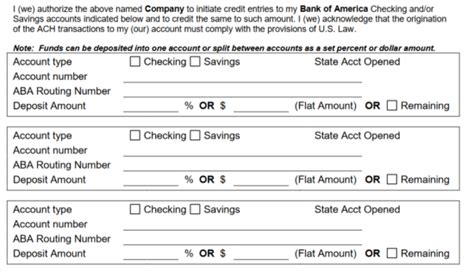 Free Bank Of America Direct Deposit Form