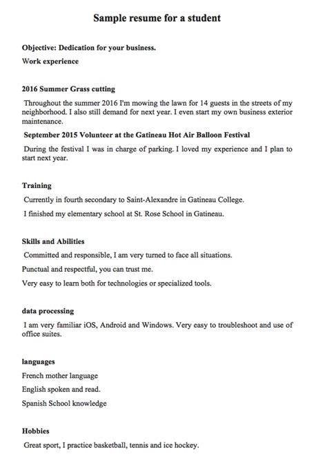 sle resume for a student or a 16 year student