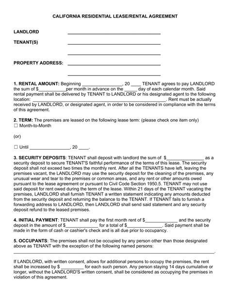 California Lease by Rental Lease Agreement California Gtld World Congress