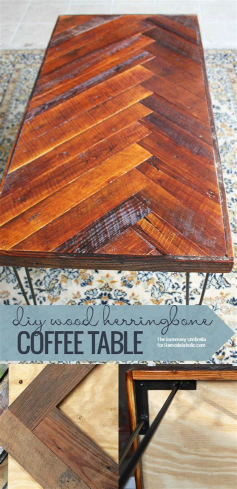Then attach it to a table framework. Remodelaholic | Build a Reclaimed Wood Herringbone Coffee ...