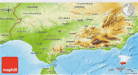 map andalucia 3d physical spain maps east north west