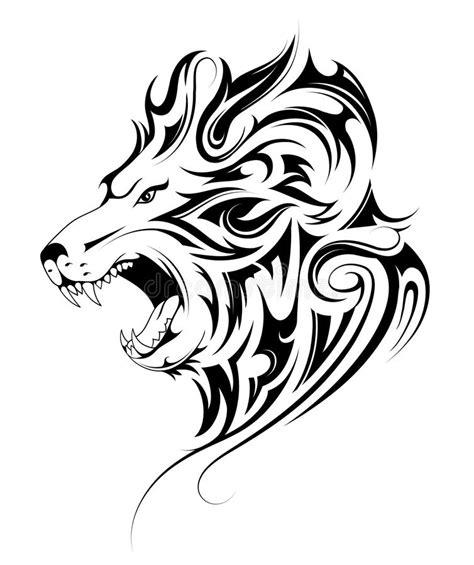lion head tribal tattoo stock vector illustration  beast