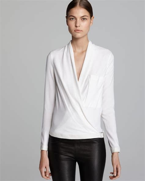 white blouse sleeve helmut lang blouse morse drape sleeve in white lyst