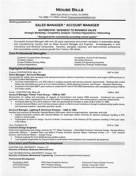 sle of a curriculum vitae cover letter free sle resume for sales manager
