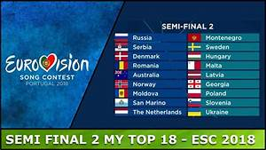 Semi Final 2 - My Top 18 - Eurovision 2018 - YouTube