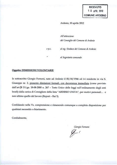 Lettere Dimissioni Volontarie by Dimissioni Giorgio Ardesio Unita