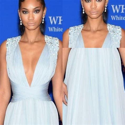 Elegant Light Blue Red Carpet Celebrity Dresses Deep V