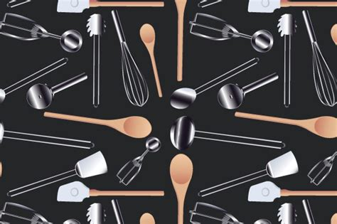 Seamless Kitchen Cookware Realistic Vector Graphic By Iop
