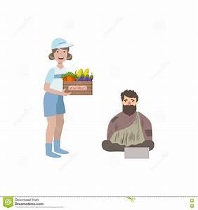 Volunteer Giving Food To Homeless Man Stock Vector ...