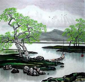 Chinese Painting: River and Trees - Chinese Painting ...