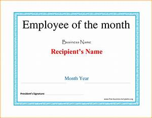 Employee Certificate Templates Free Free Employee Of The Month Certificate Template
