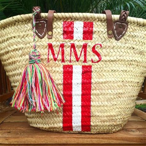 monogrammed straw bag personalized beach bag custom initialed tote monogrammed straw bag
