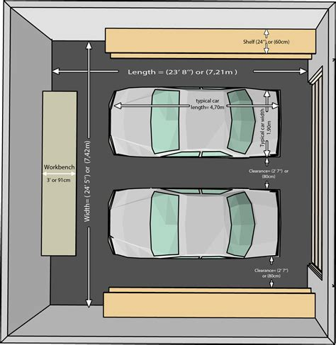 standard 2 car garage size the dimensions of an one car and a two car garage