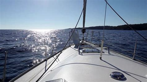 Deck Boat In Ocean by Boating In Blue Ocean Sea View From Boat Bow Deck Stock