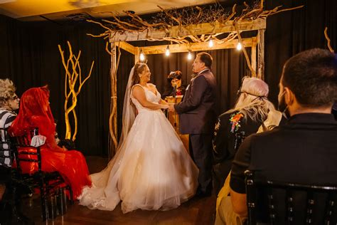 Halloween Bride and Groom Exchanging Vows During Ceremony