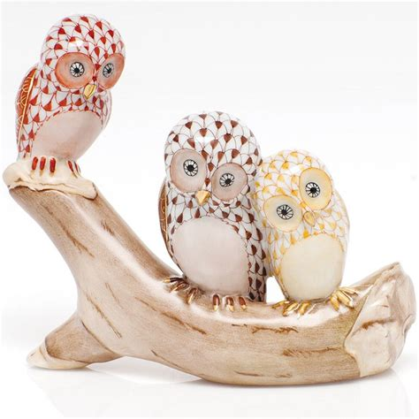 Beautiful Bird Owl Figurines Collectibles by Herend Three Owls On A Branch Assorted Colors Herend