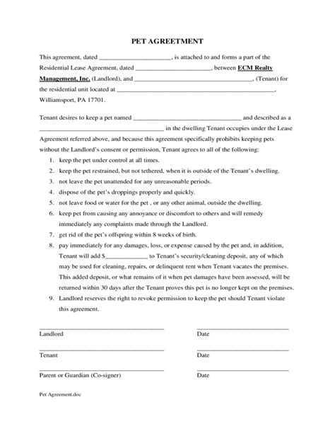 pet agreement form sle form for pet agreement free download