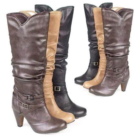 ladies biker boots womens girls sexy heels mid calf riding