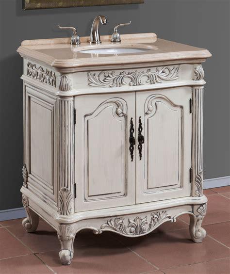 30 inch antique white single sink bath vanity with cream