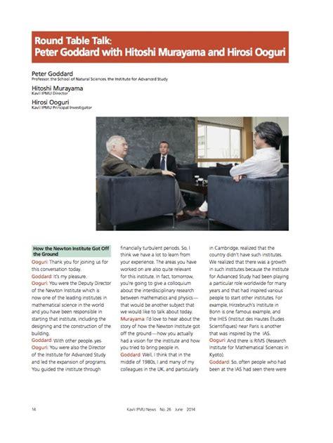 Round Table Talk Peter Goddard With Hitoshi Murayama And