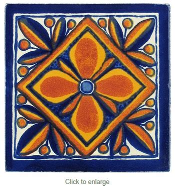 15 talavera tiles geometric flower design pp2159
