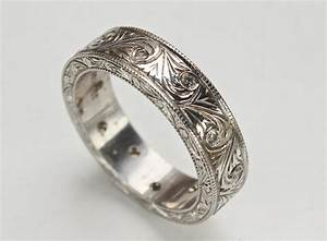 mens art carved ring with diamonds and vintage swirl With mens carved wedding rings