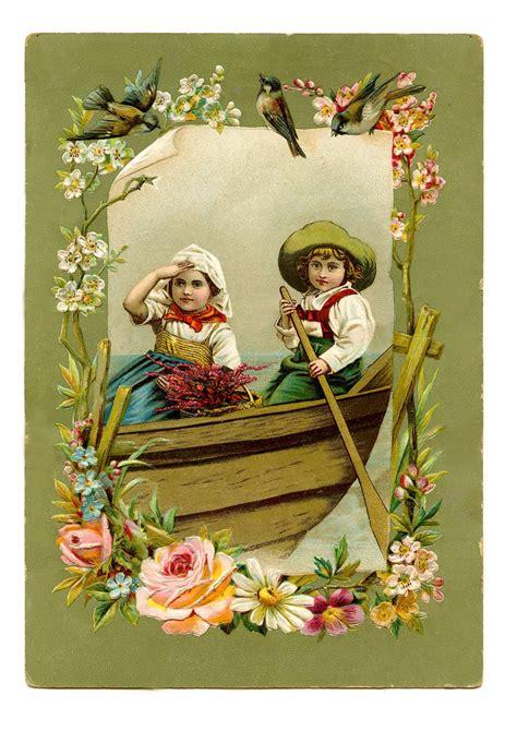 vintage image gorgeous children  boat  birds