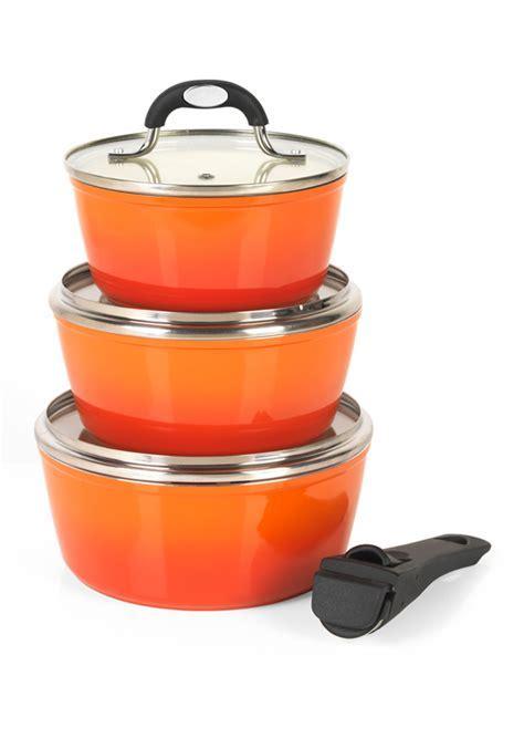 Salter Ceramic Coated Saucepan Set Orange   Cookware   Salter