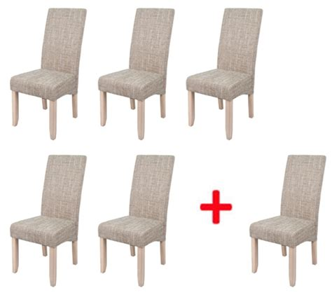 chaise de sejour lot de 5 chaises 1 offerte sagua naturel beige