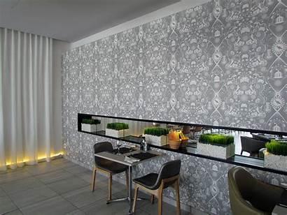 Hotel Restaurant Ice Fire Protea Wallpapers Fabrics