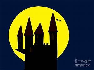 Old Haunted Castle In Full Moon Drawing by Michal Boubin