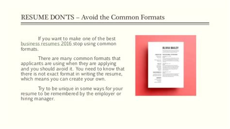 Resume Don Ts by Resume Tips 2016 Do S And Don Ts