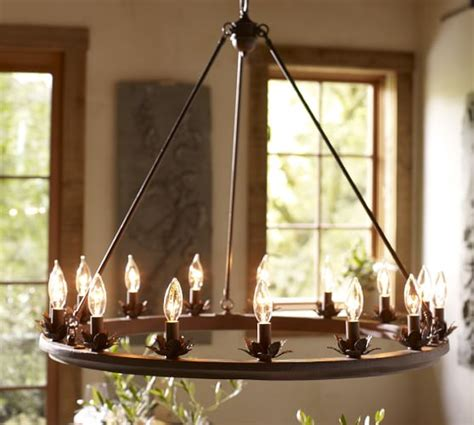 chandelier barn stanton leaf cup indoor outdoor chandelier pottery barn