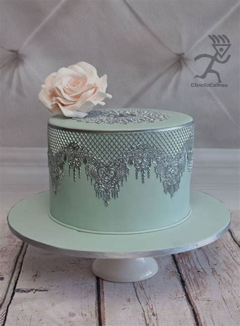 silver metallic edible lace cake decorating