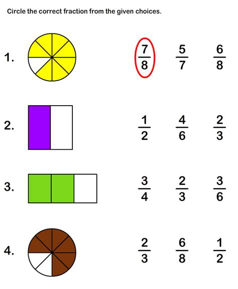 free printable fraction worksheets for grade1 math