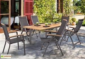 Salon De Jardin Table : salon de jardin alu avec table teck 6 chaises anthracite ~ Teatrodelosmanantiales.com Idées de Décoration