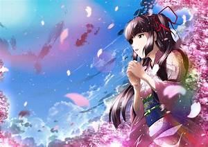 Black, Hair, Cherry, Blossoms, Clouds, Flowers, Japanese, Clothes, Kimono, Long, Hair, Original, Petals, Sky