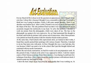 personal art evaluation gcse art marked by teacherscom With art evaluation template