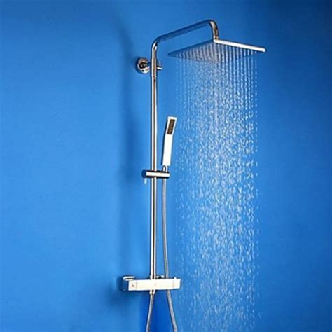 Contemporary Chrome Brass Thermostatic Shower Faucet with