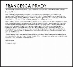 Franchise Cover Letter Sample | LiveCareer