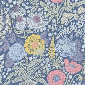 Papier Peint Grosses Fleurs : papier peint lisa fond bleu fonc et fleurs color es ~ Dode.kayakingforconservation.com Idées de Décoration