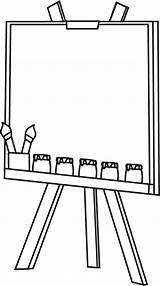 Easel Clip Blank Canvas Outline Paint Jars sketch template